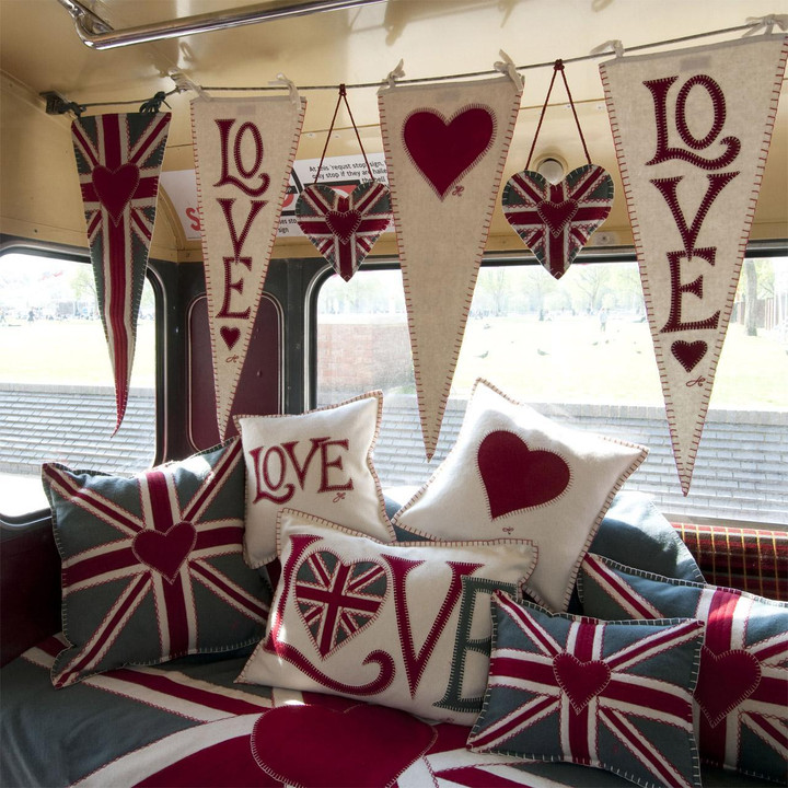 British Pop Art collection, Union Jack, Hearts, Love banners, cushions, throws and lavender bags