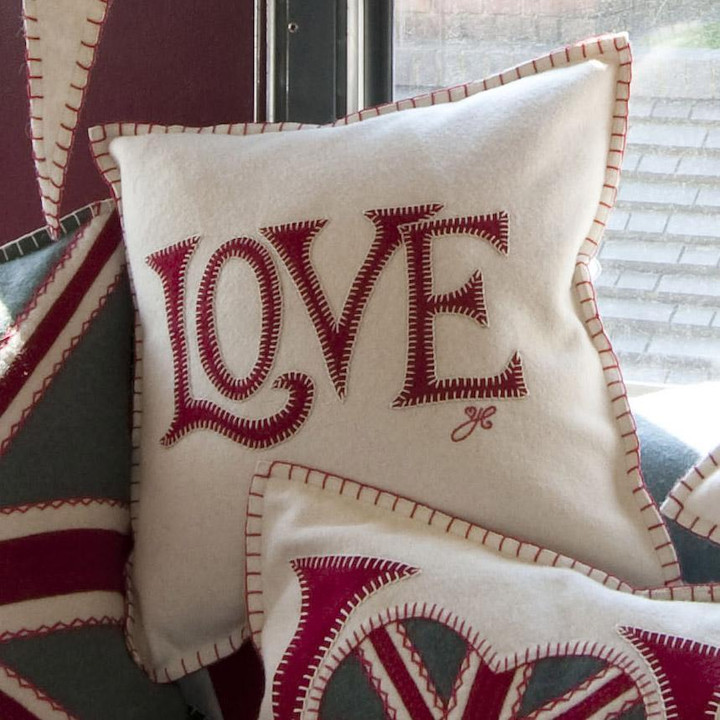 Red love cream cushion, wool, hand-embroidered