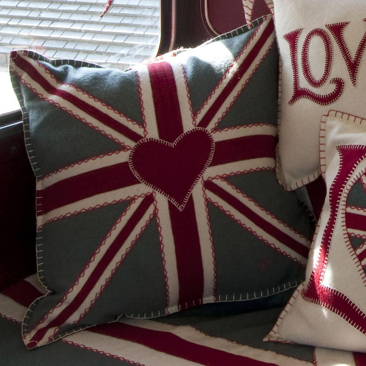 Hand-embroidered Union Jack cushion