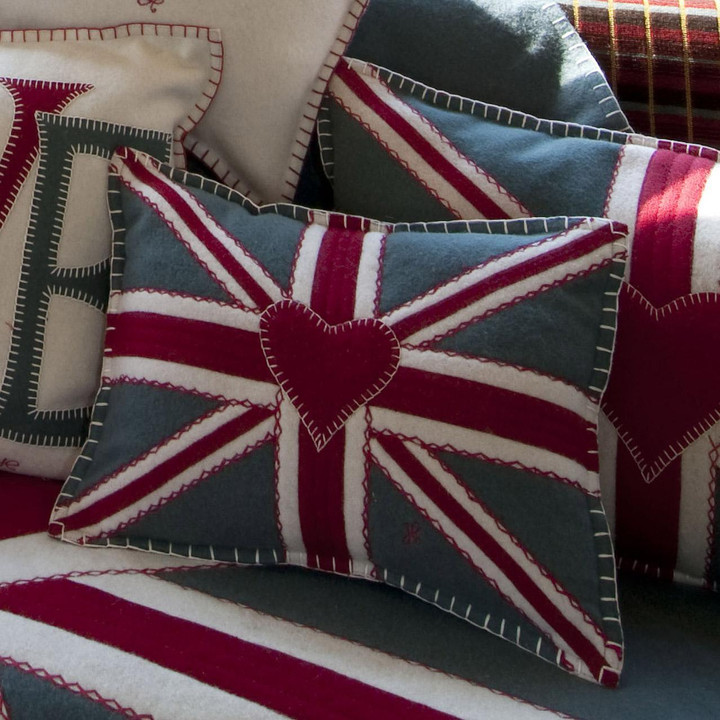 Union Jack crunch cushion, hand-embroidered