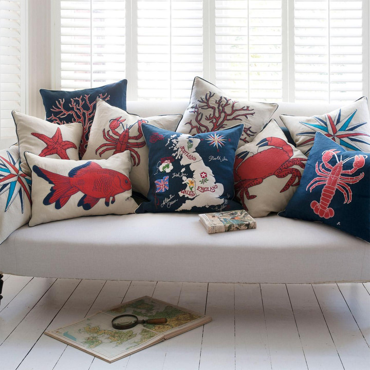 Seaside collection cushions, hand-embroidered
