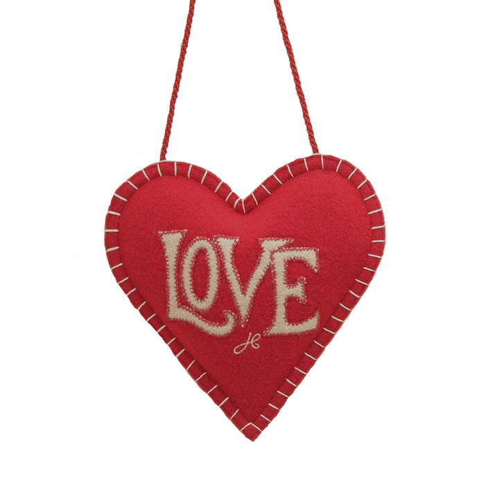 Red love designer lavender heart, wool, hand-embroidered