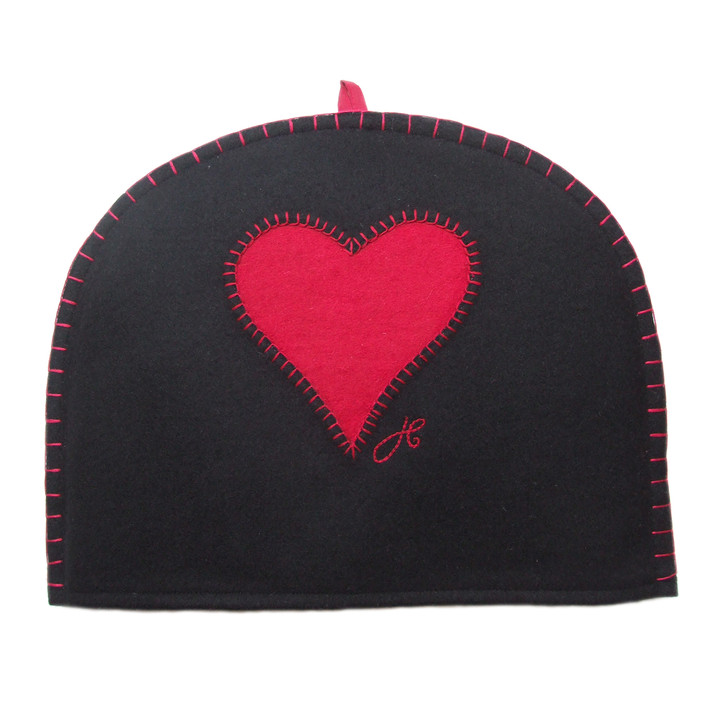Red heart designer tea cosy, black