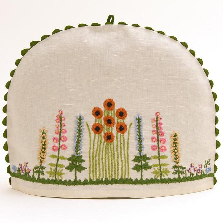 Flowers and trees cream linen tea cosy