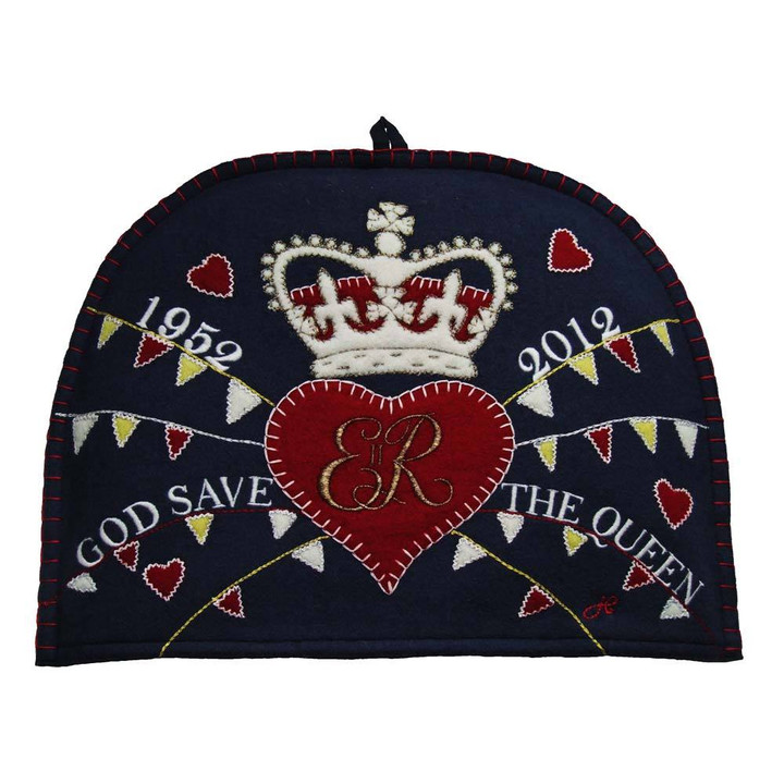 God save the Queen tea cosy, navy blue
