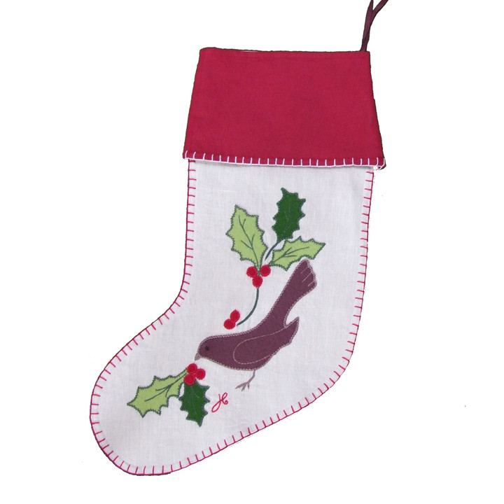 Birds and holly Christmas stocking, linen, hand-embroidered