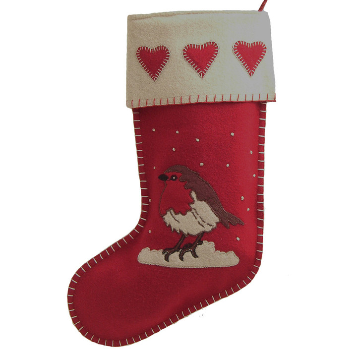 Robin and hearts Christmas stocking, red and cream wool, hand-embroidered