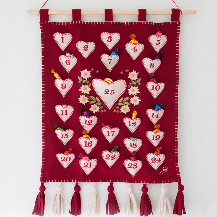 Alpine Advent Calendar, Christmas collection, hand-embroidered, red and cream wool
