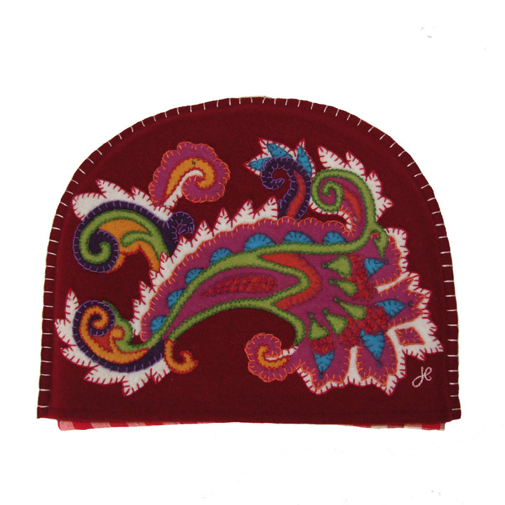 Gypsy Paisley tea cosy, red wool, multi-coloured