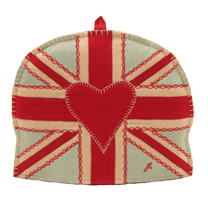 Union Jack, red heart designer tea cosy, blue linen