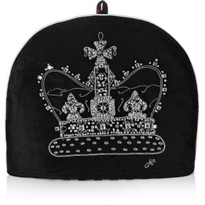 Black velvet diamante crown tea cosy, hand-embroidered