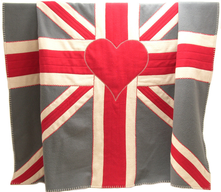 Union Jack Flag, throw, wool, red, grey, cream