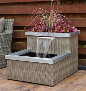 Allora Wicker Rattan 2 Tier Patio Water Feature