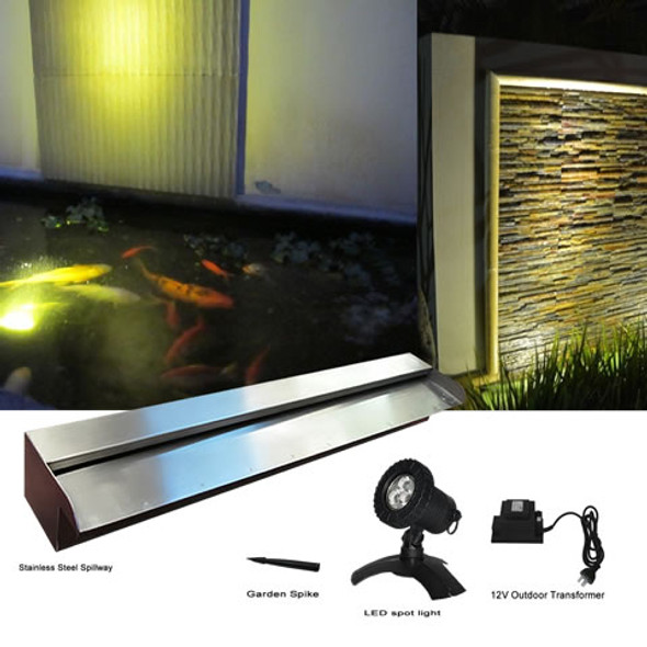 300mm Stainless Spillway (304G) & Spotlight (WW) Kit