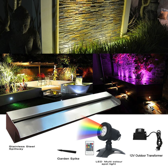 1200mm Stainless Spillway 316G & LED Multi Colour Spotlight Kit