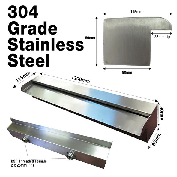 1200mm Stainless Water Wall Blade - 35mm Lip x 304 Grade