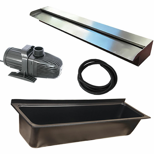 DIY WATER FEATURE KIT for WaterWall Cascade Effect - 1200mm Spillway Kit with 1300mm Wide Trough