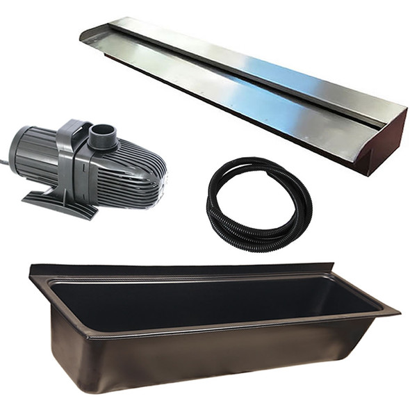 SAVER 600 - DIY WATER FEATURE KIT for WaterWall | Wall Wash Effect - 600mm Spillway Kit with 1600mm Wide Trough