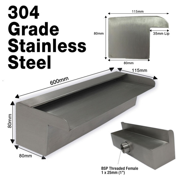 600mm Stainless Water Wall Blade - 35mm Lip x 304 Grade