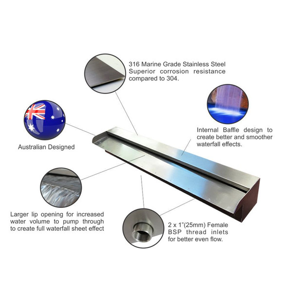 1200mm wide MULTI COLOUR LED Light Bar & Spillway Blade Water Feature