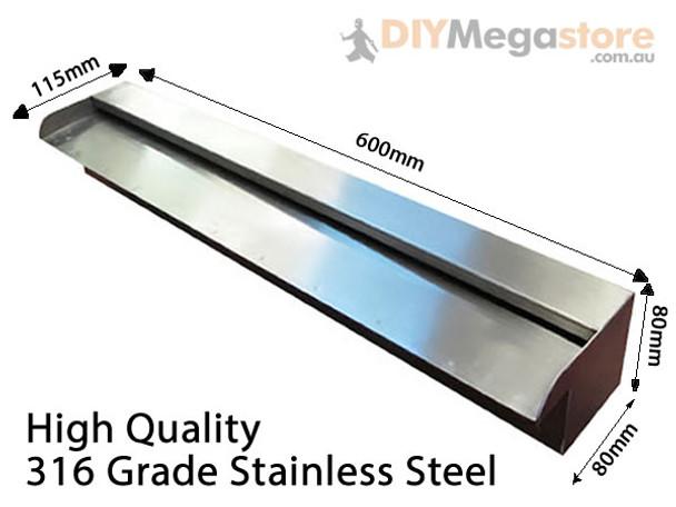 600mm Wide Wide Spillway Water Wall Blade - 35mm Lip