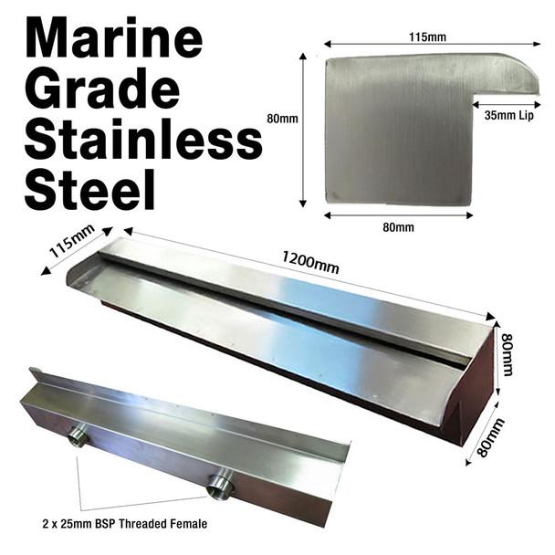Marine Grade - 1200mm Spillway Water Wall Blade - 35mm Lip