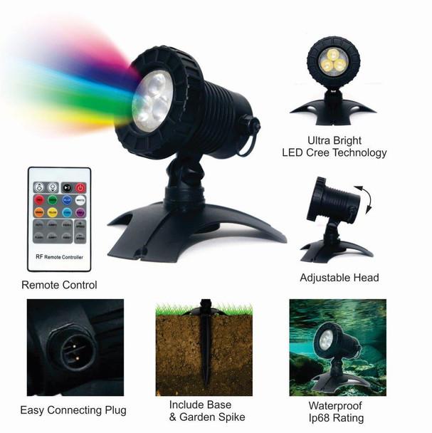 5.8W LED Multi Colour Pond Light Complete - Includes Remote & Transformer
