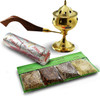Home incense kit with brass charcoal burner