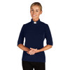 WC945 Women's SS Jersey Knit Tab Shirt  Navy