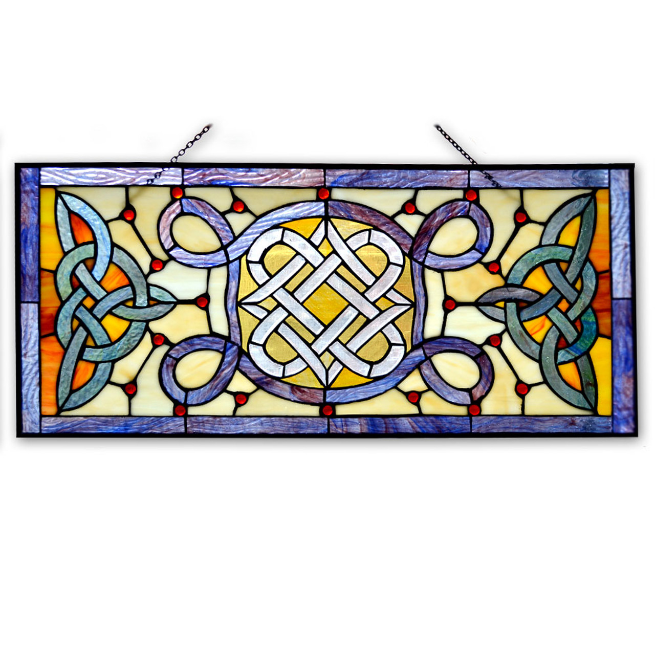 Rectangle Celtic Stain Glass Piece
