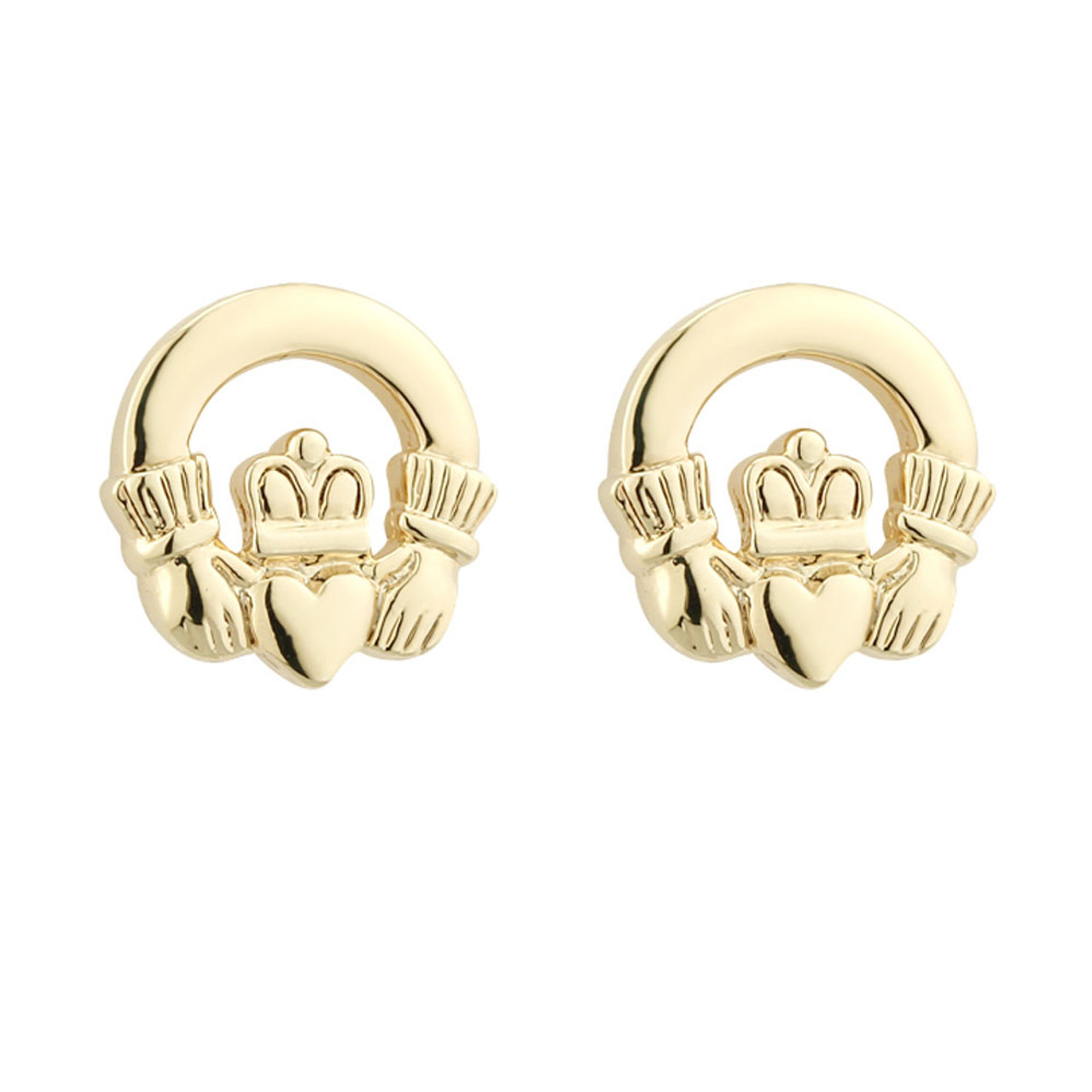 18 kt Gold Plated Claddagh Earrings