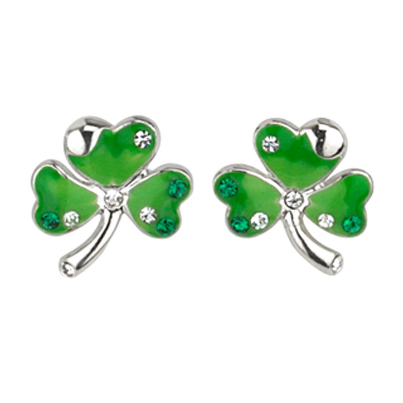 Silver Plated Green Shamrock Earrings with Crystals