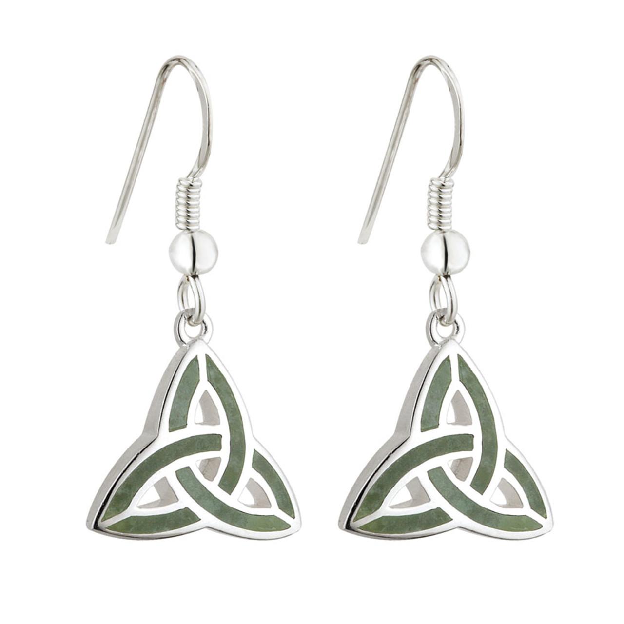 Celtic Connemara Trinity Knot Drop Earrings in Sterling Silver