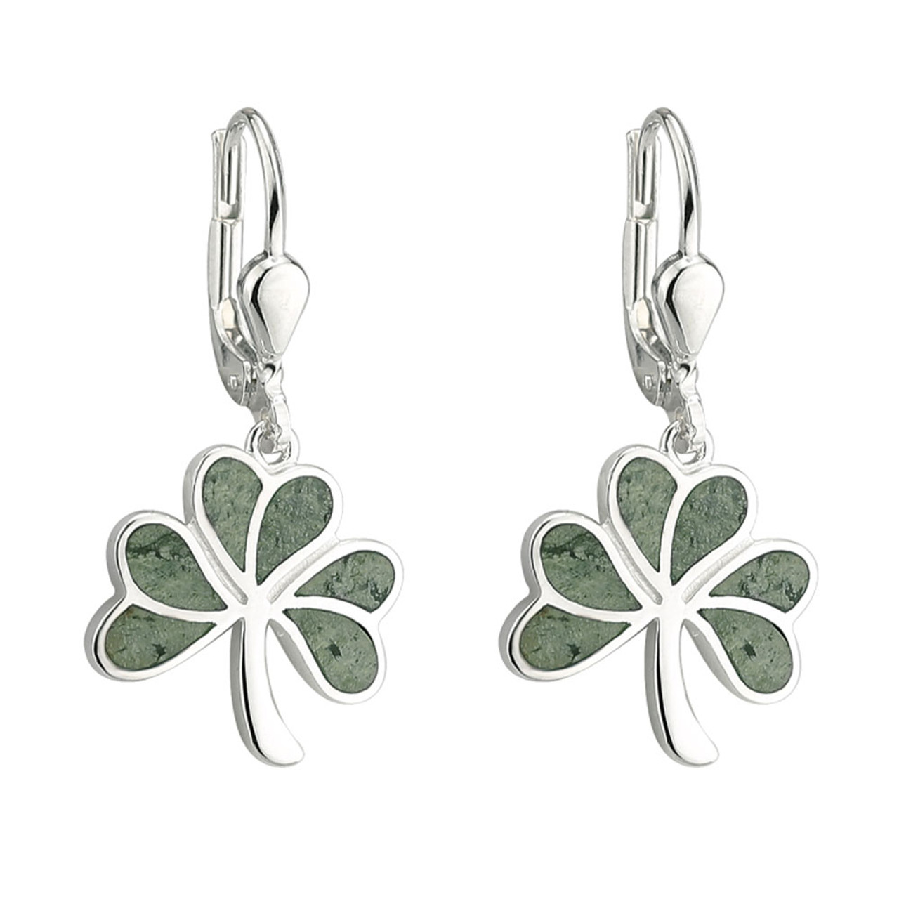Celtic Connemara Marble Shamrock Earrings