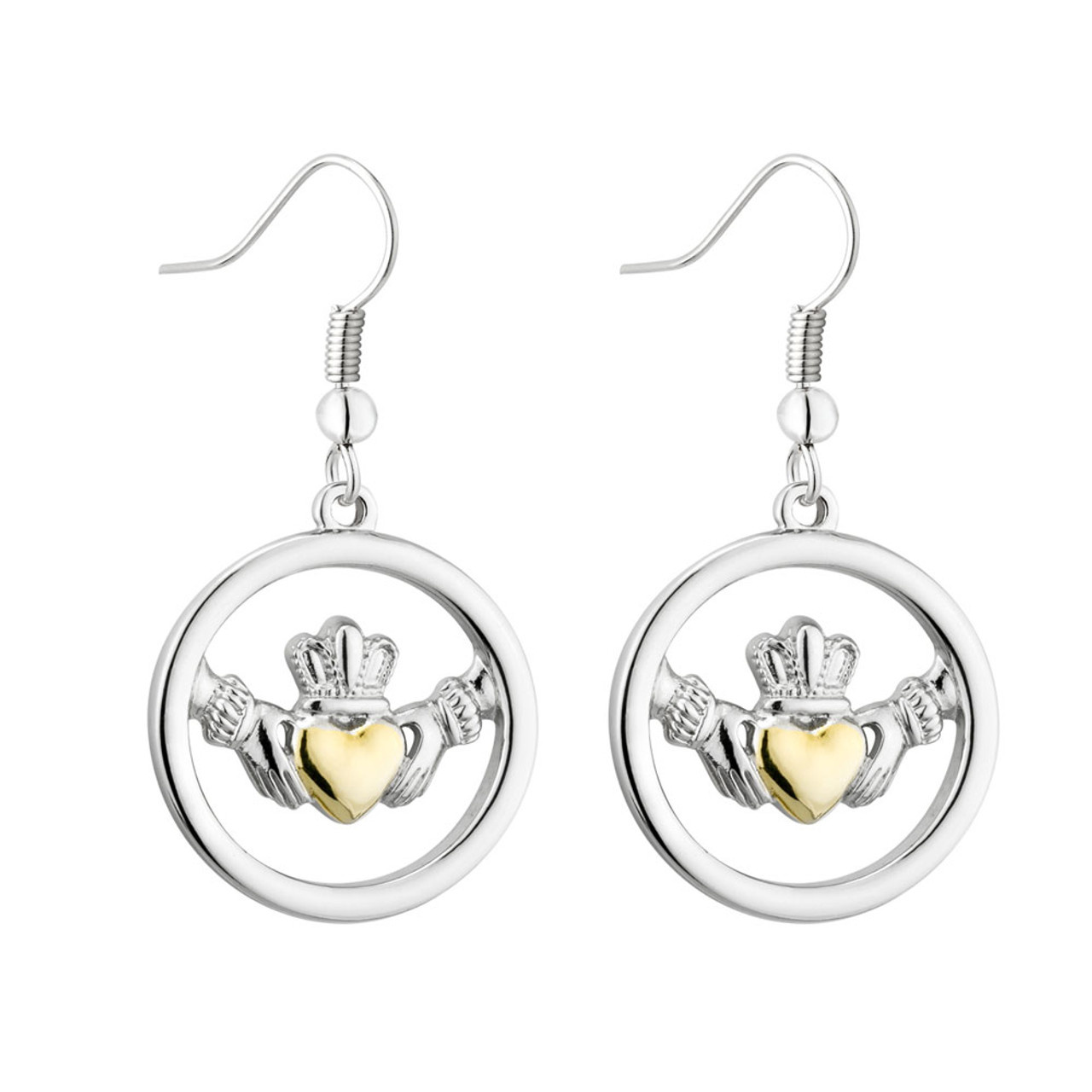 Large Two Toned Claddagh Earrings