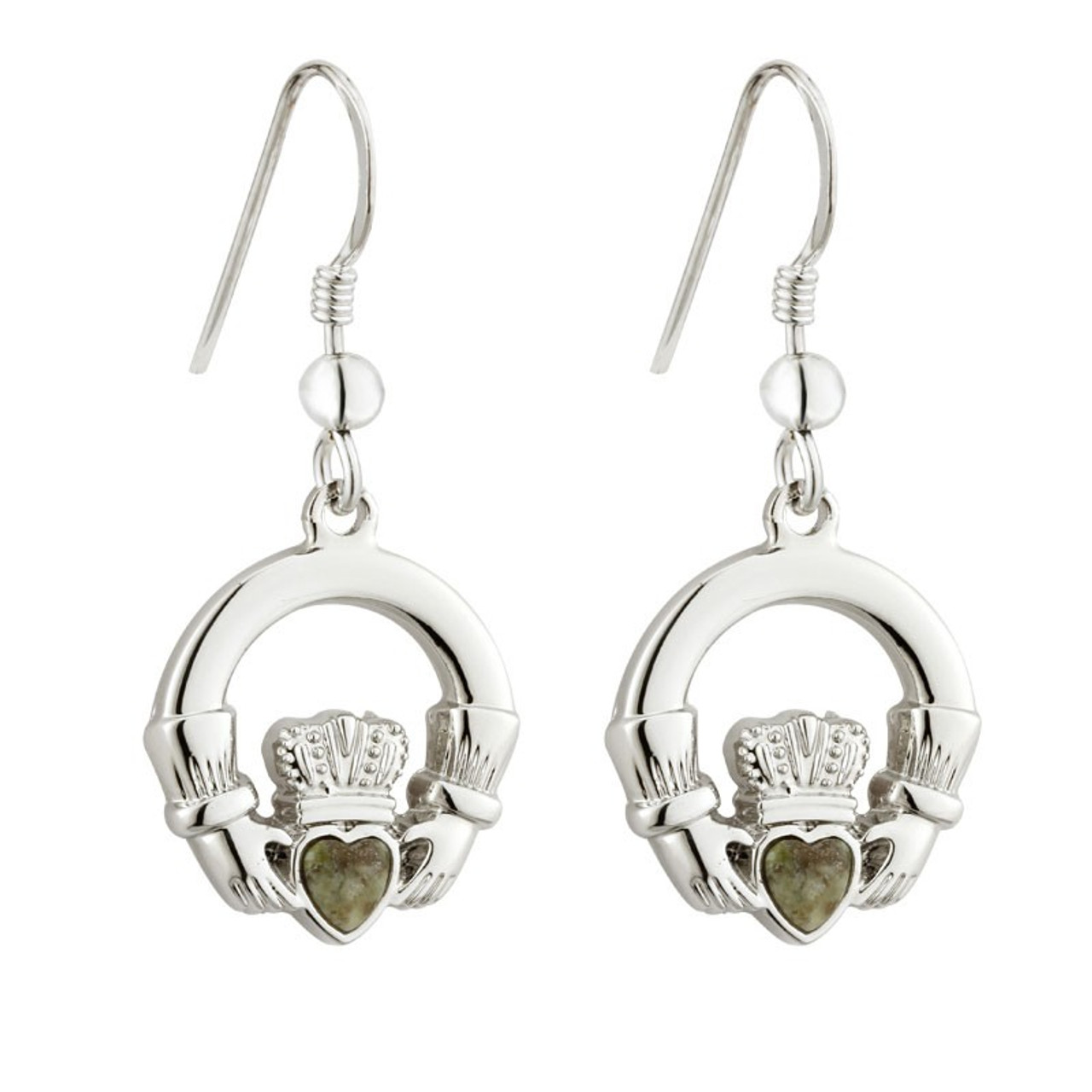 Rhodium Claddagh Earrings with Connemara Marble