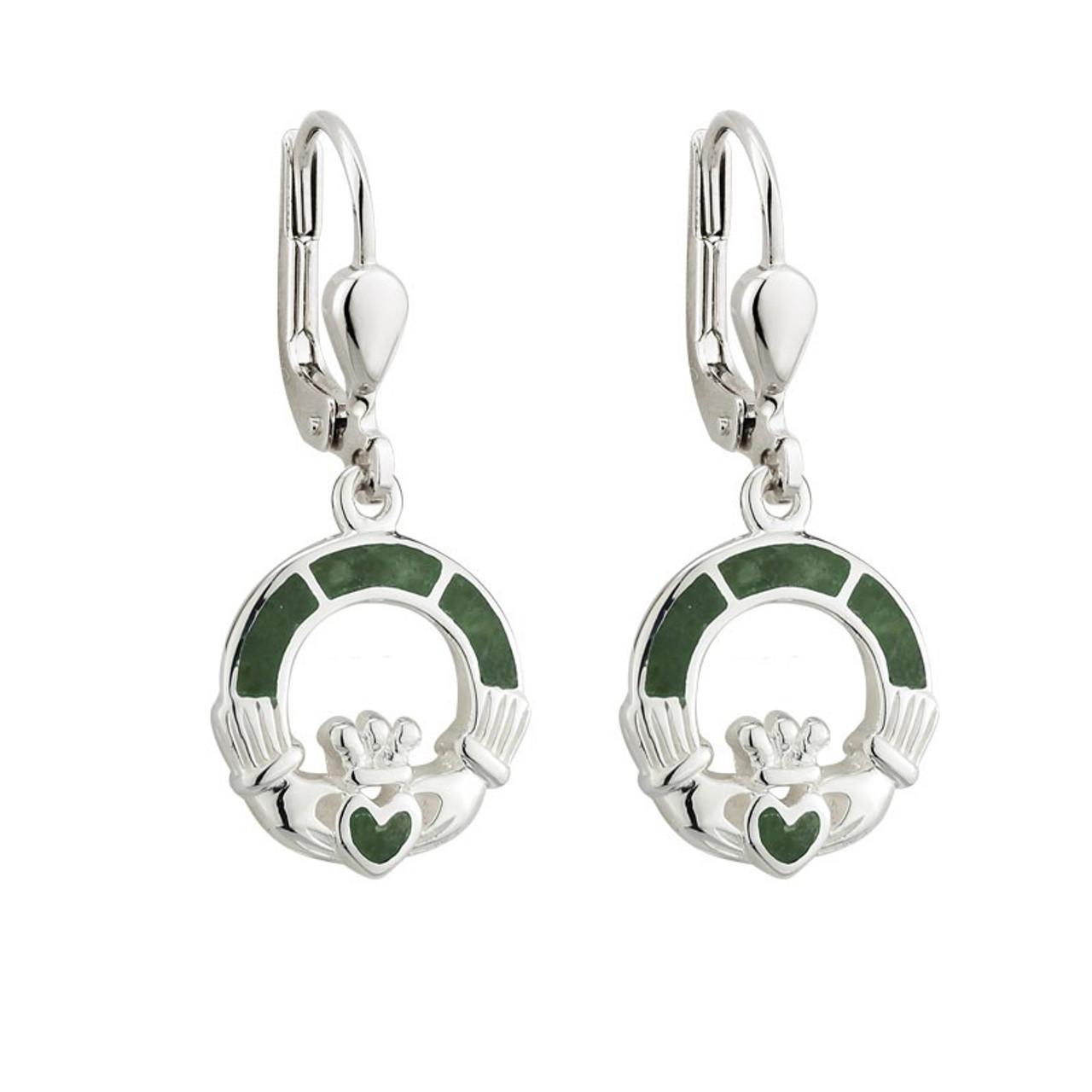 Claddagh Earrings Sterling w/Connemara Marble