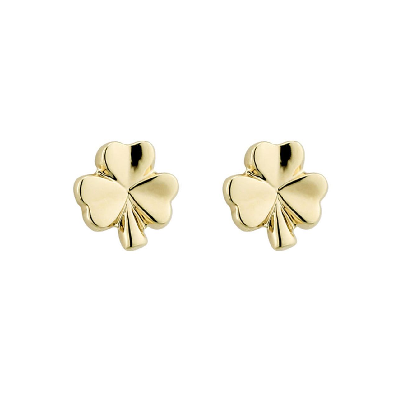 Gold Plated Shamrock Stud Earrings