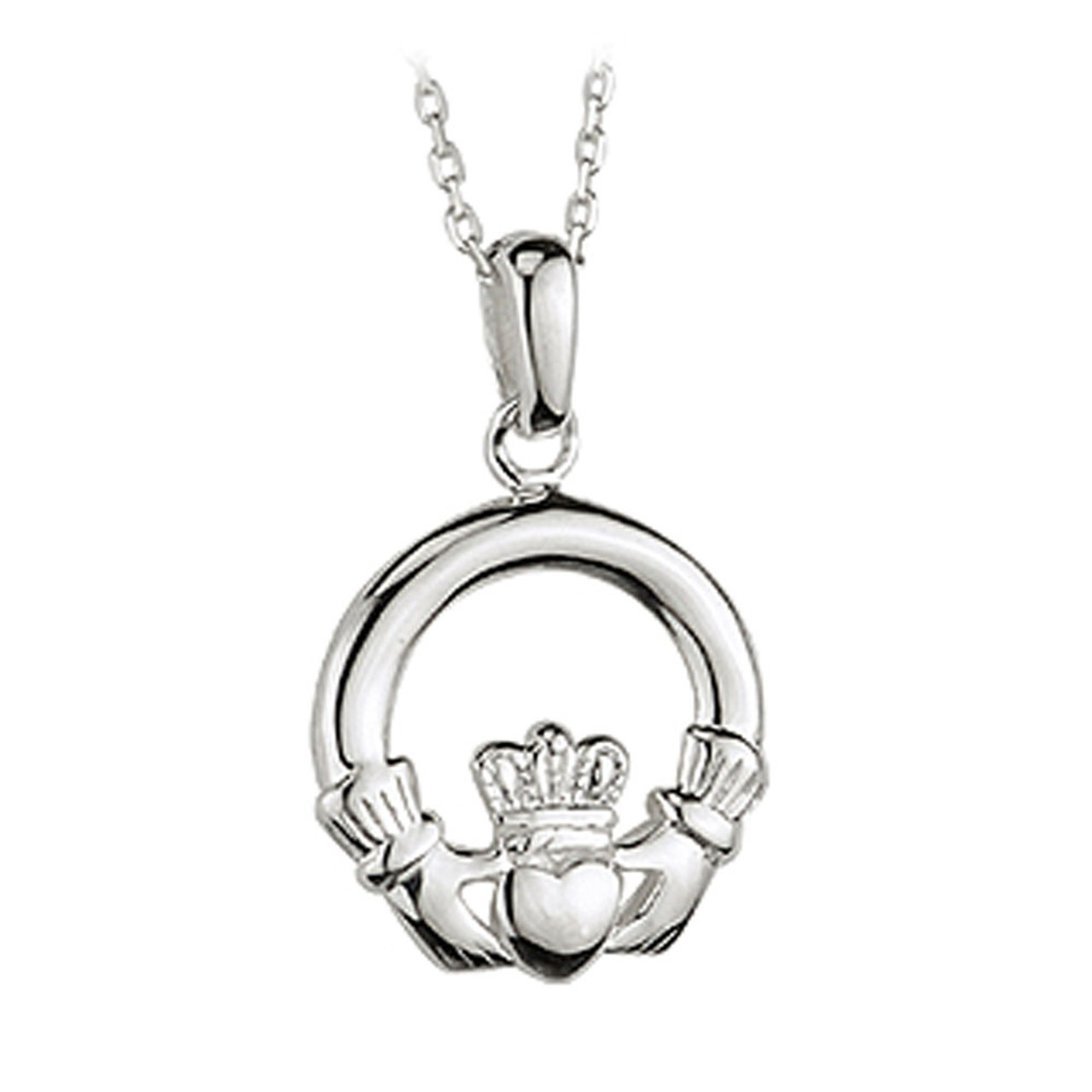 Sterling Silver Claddagh Necklace, 18 Inch Chain