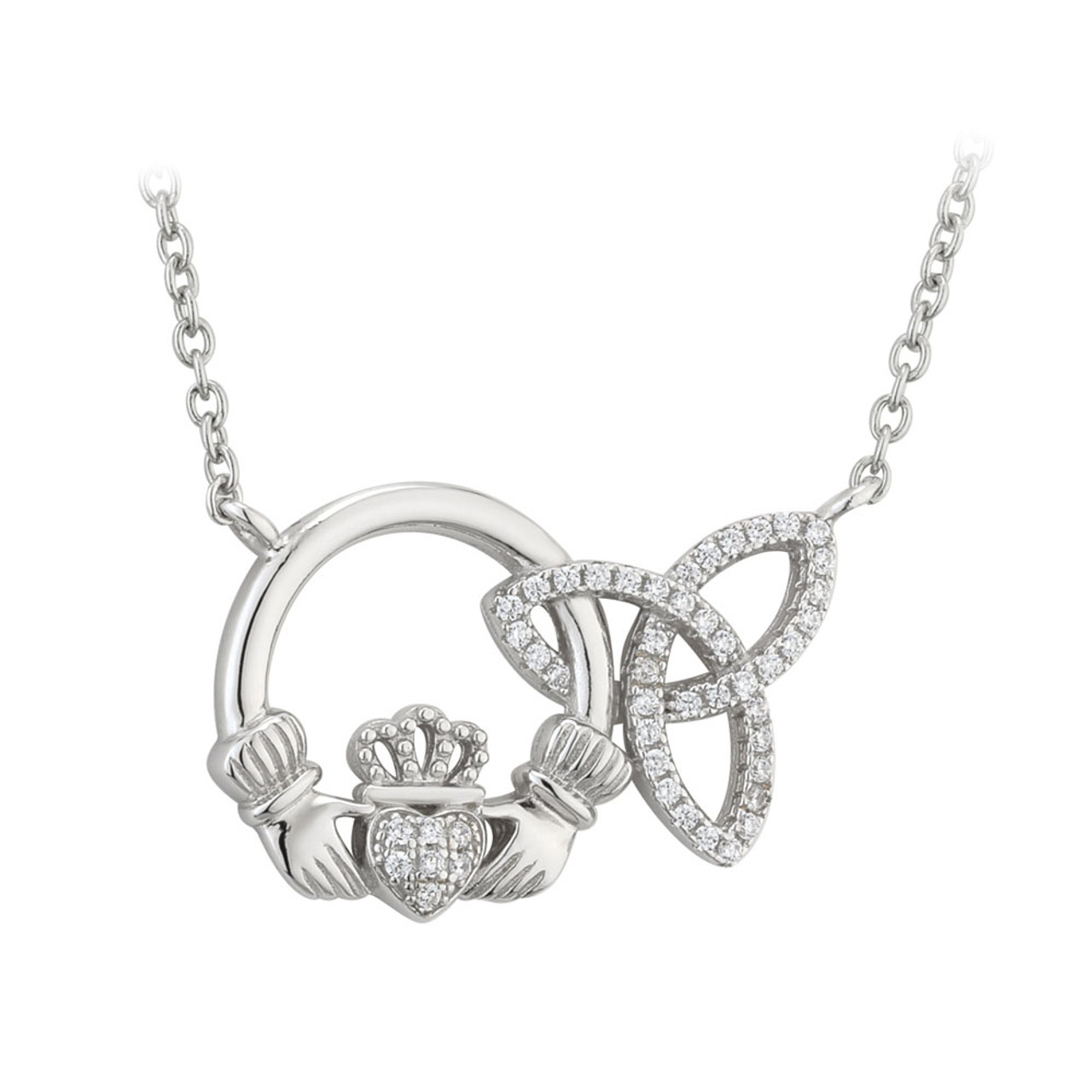Irish Celtic Claddagh and Trinity Knot Pendant
