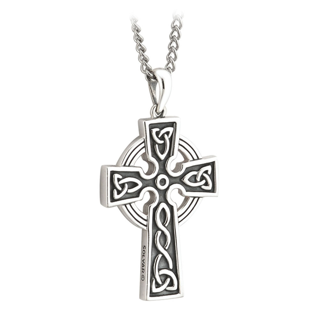 Double-Sided Celtic Cross Pendant in Sterling Silver