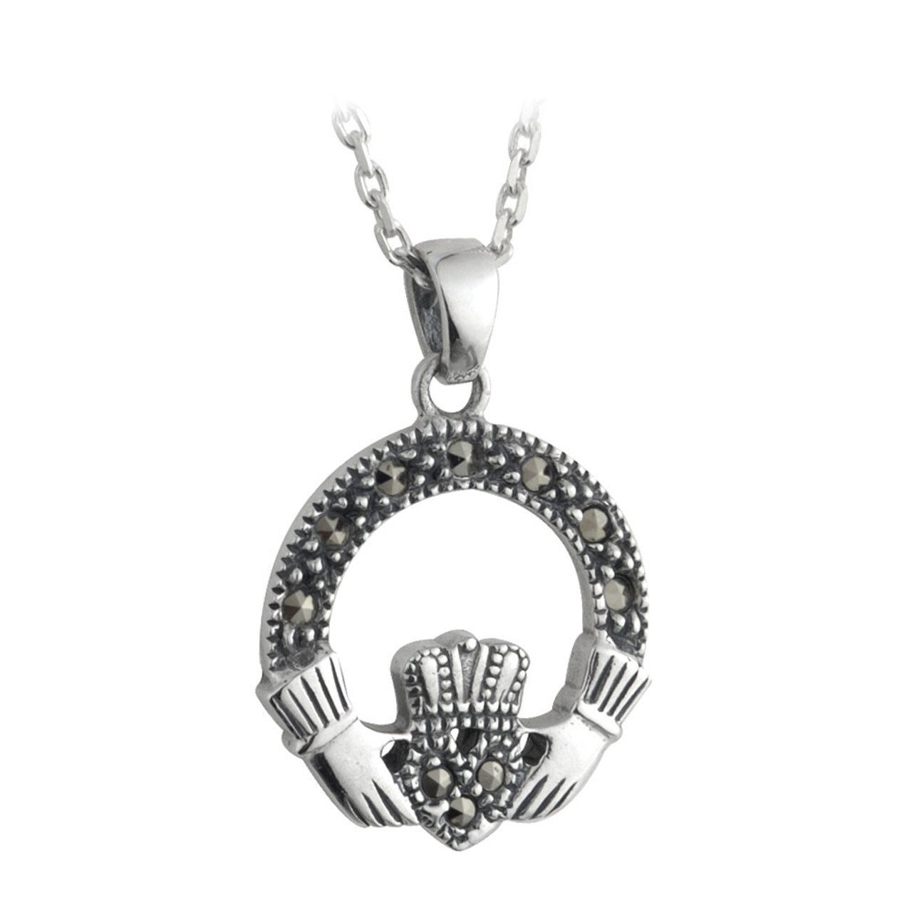 Small Claddagh Pendant with Marcasite in Sterling Silver