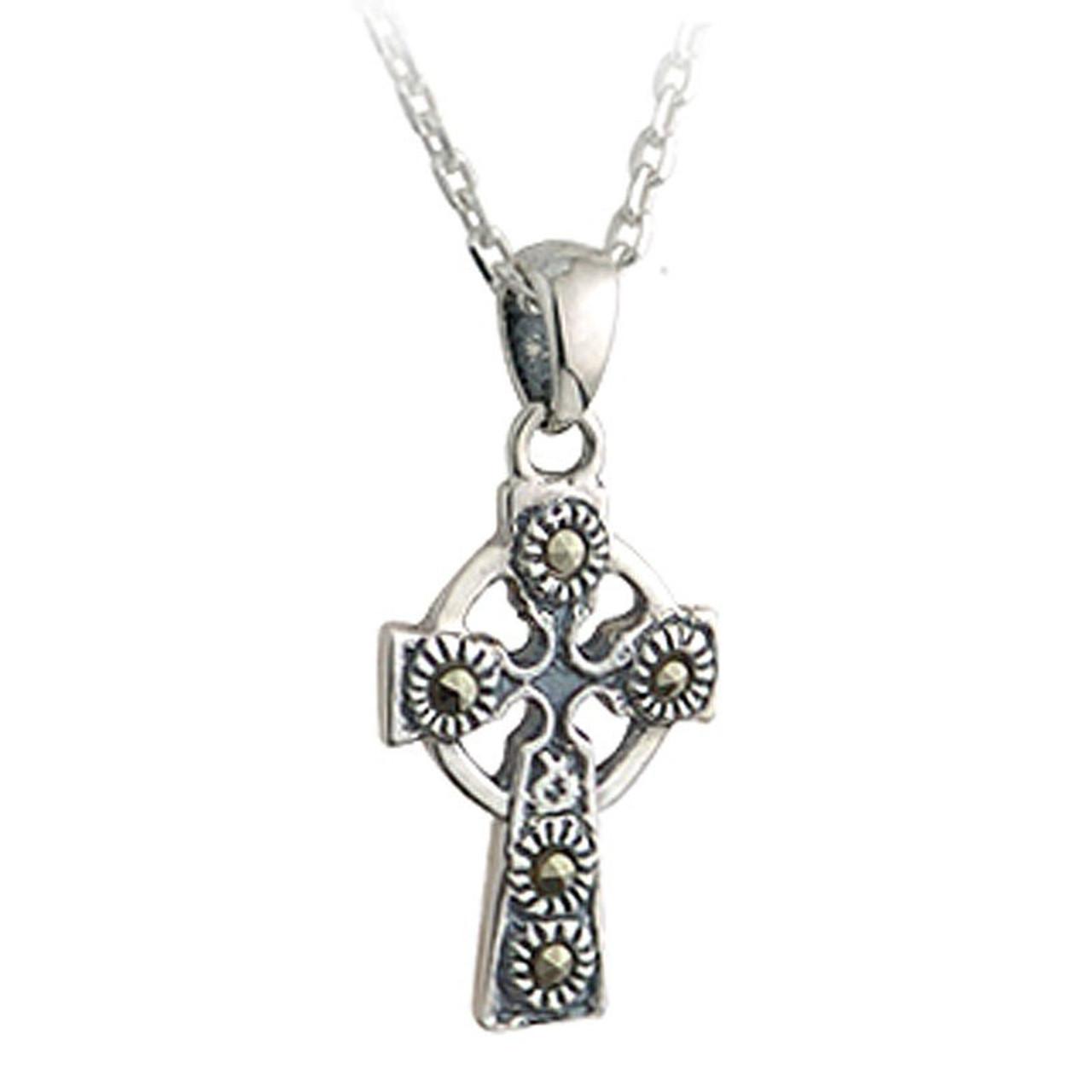 Sterling Silver Marcasite Celtic Cross Pendant