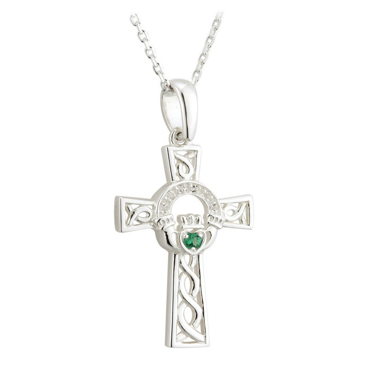 Claddagh Cross Necklace Sterling Silver