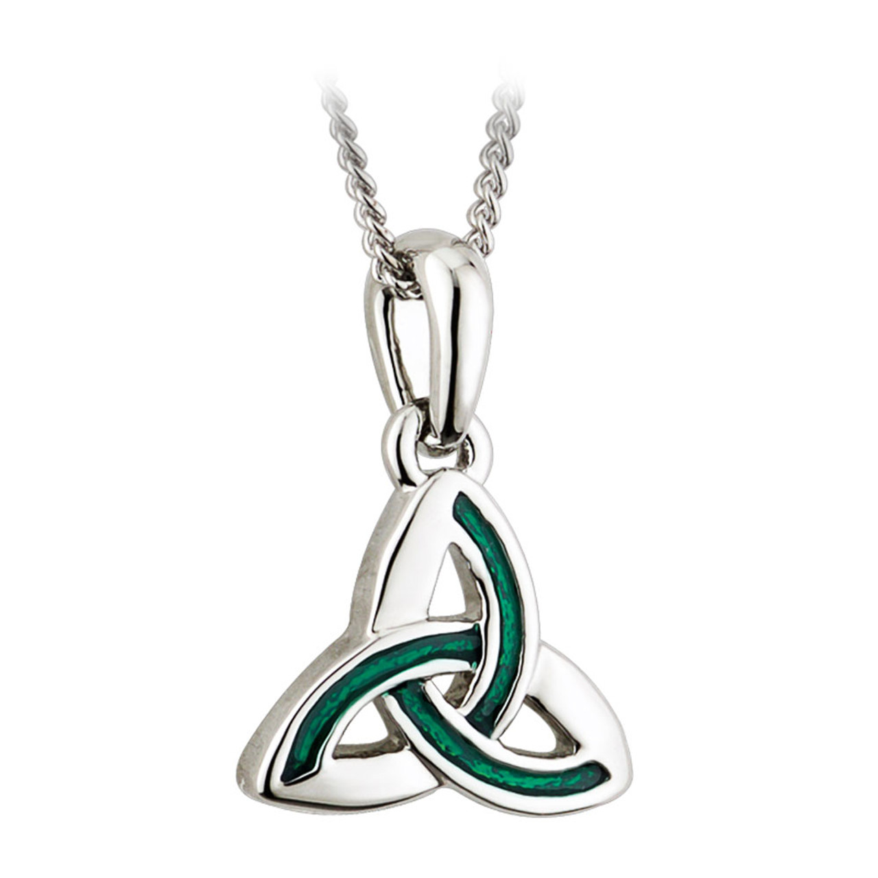 Silver and Green Celtic Trinity Knot Pendant