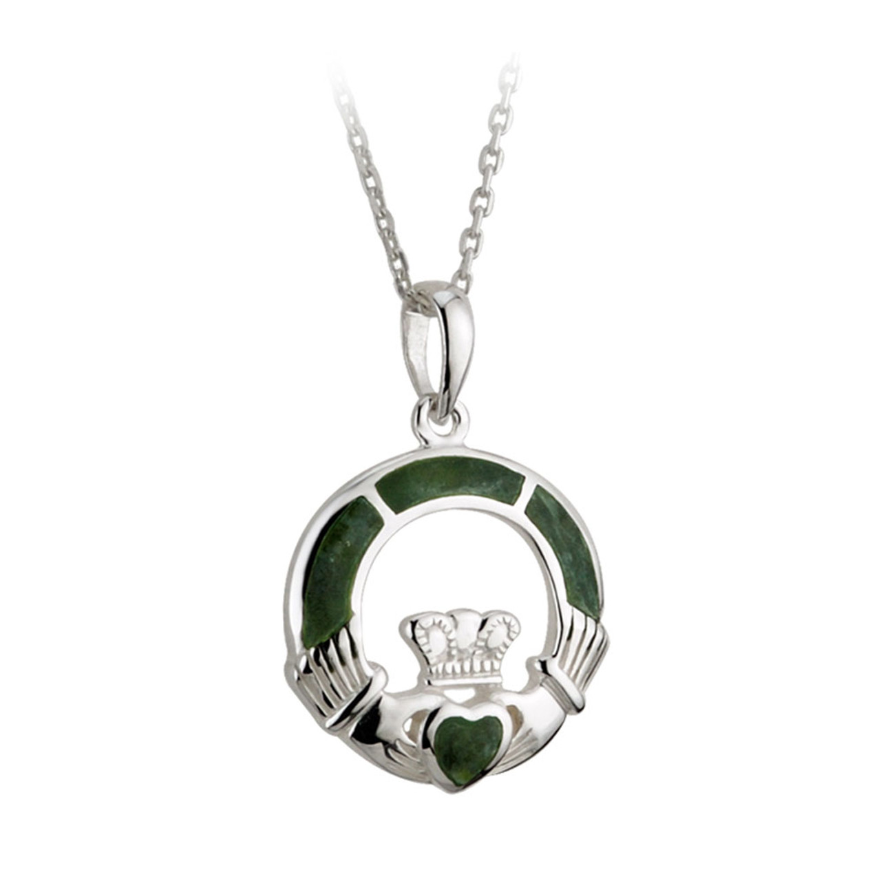 Sterling Silver Claddagh Necklace with Connemara Marble