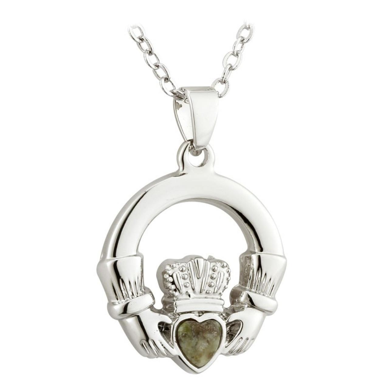Claddagh Necklace Rhodium w/Connemara Marble