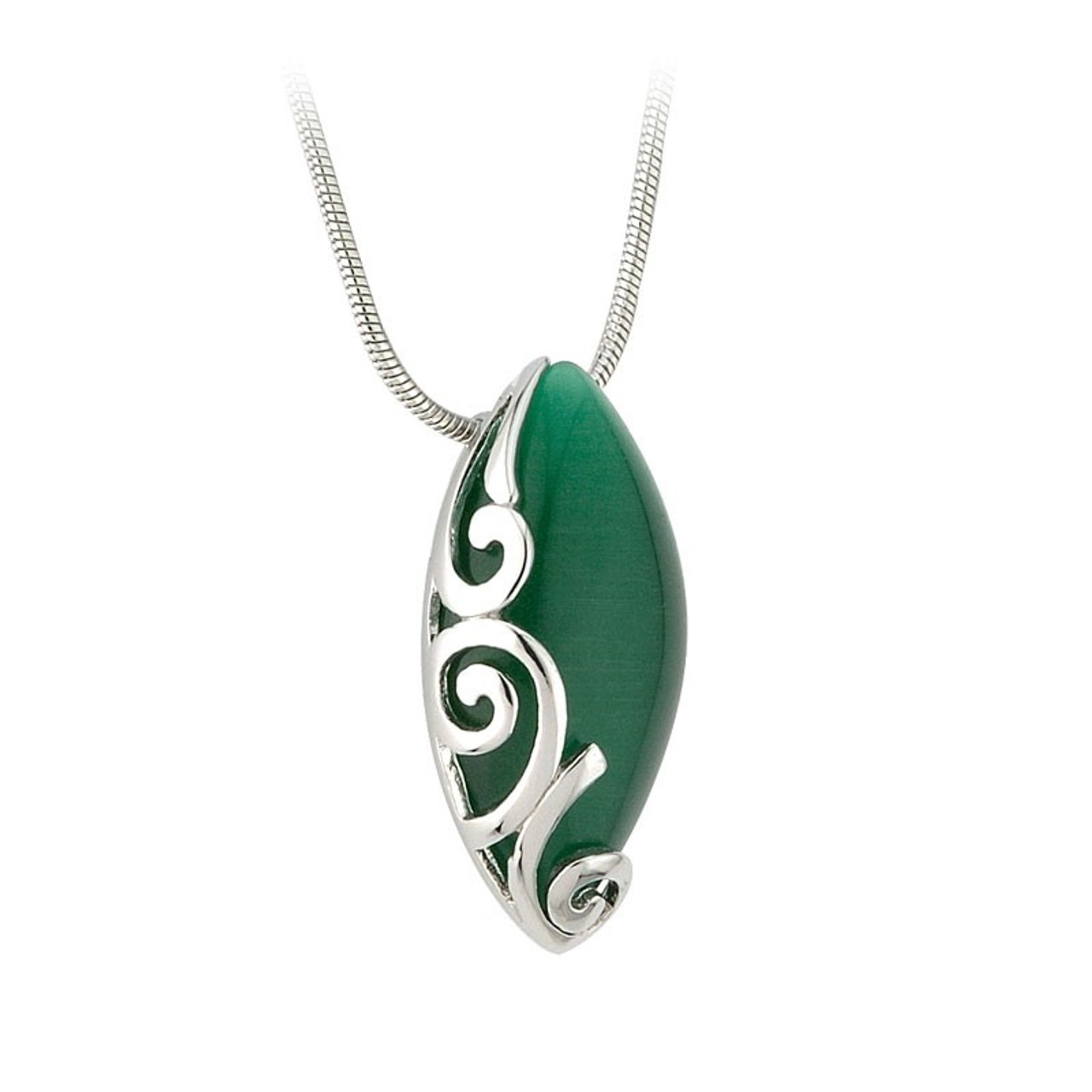 Rhodium Celtic Silver and Green Oval Pendant