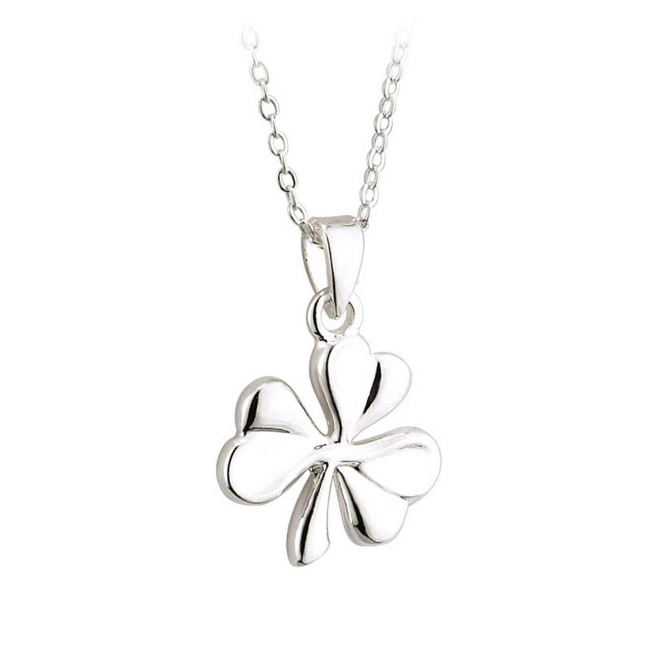 Shamrock Necklace Silver Plated