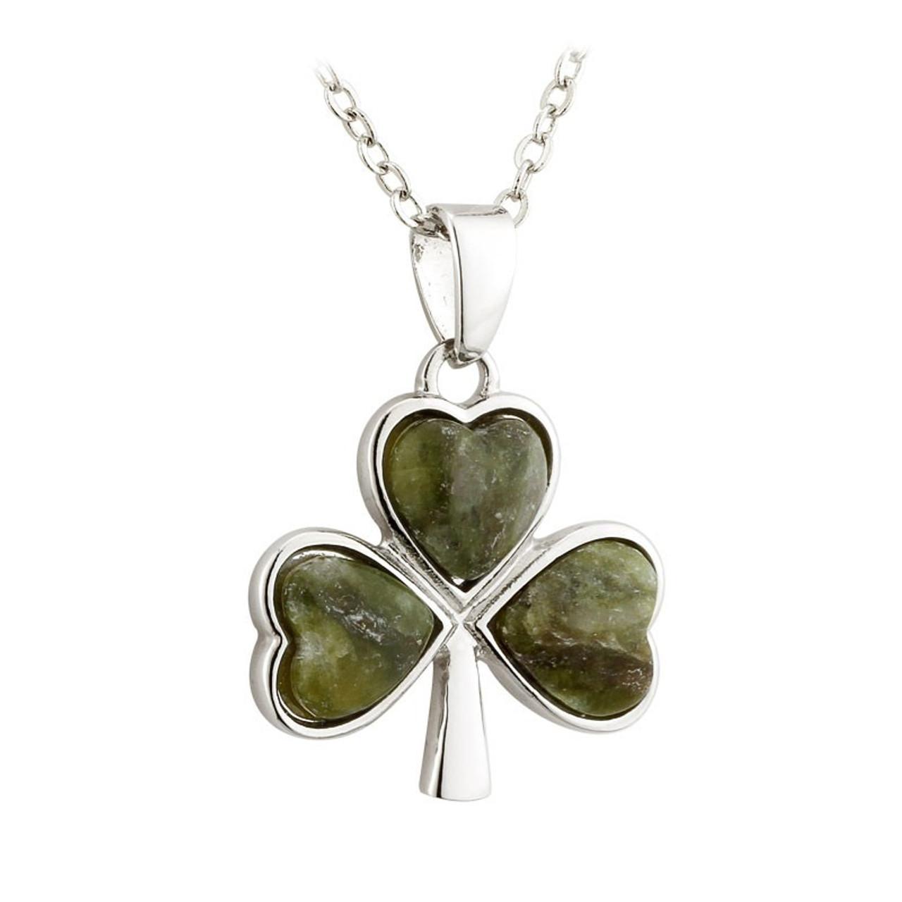 Connemara Marble Irish Shamrock Necklace